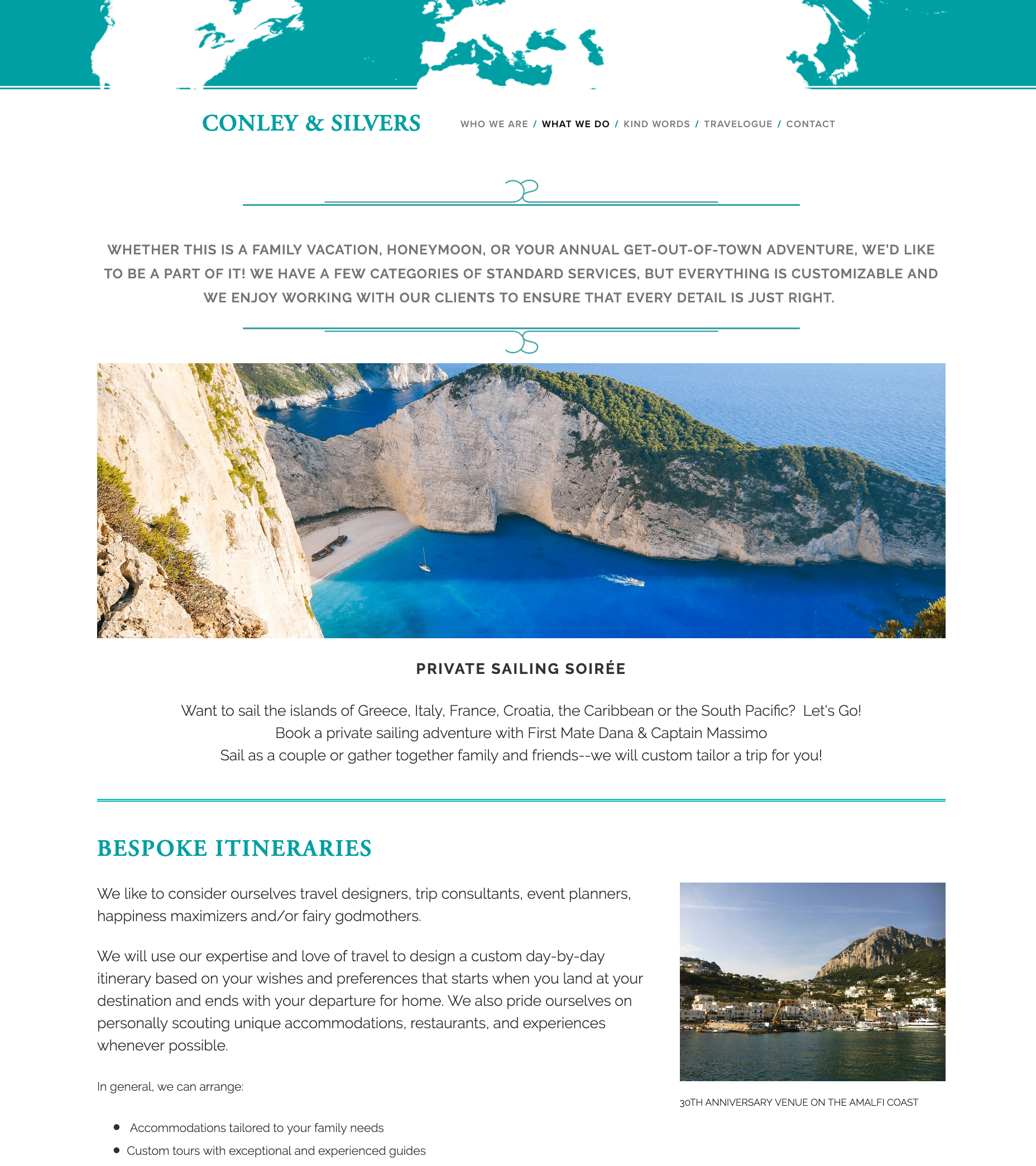 Screenshot of Conley & Silvers Website - Bespoke Travel Page